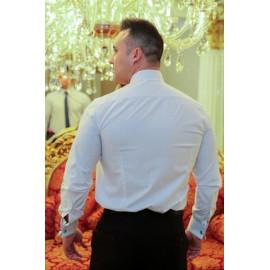Camisa Social Branca Xadrez Punho Duplo