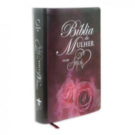 Bíblia da Mulher Amor Vinho com Rosa
