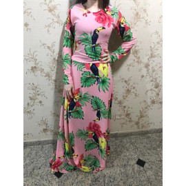 Mademoiselli (Vestido Florido Fundo Rosa)
