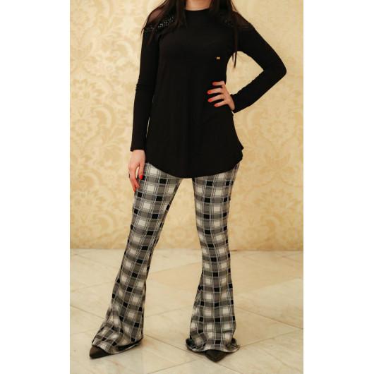 Pantalon Évasé (calça xadrez)